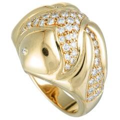 Bulgari Diamond Fish Bombe Yellow Gold Ring