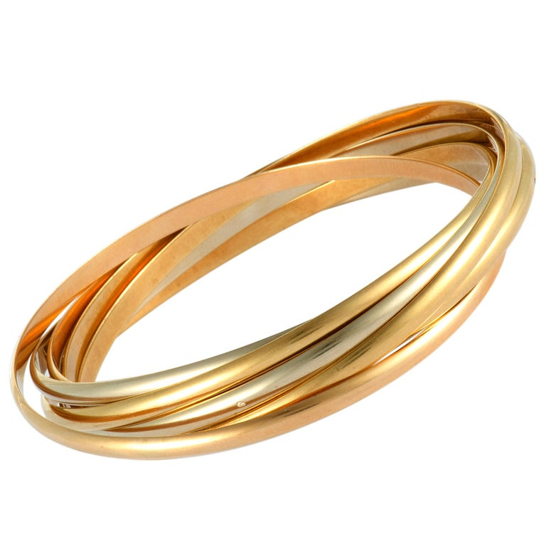 Cartier Trinity White, Yellow and Rose Gold Rolling Bangle Bracelet