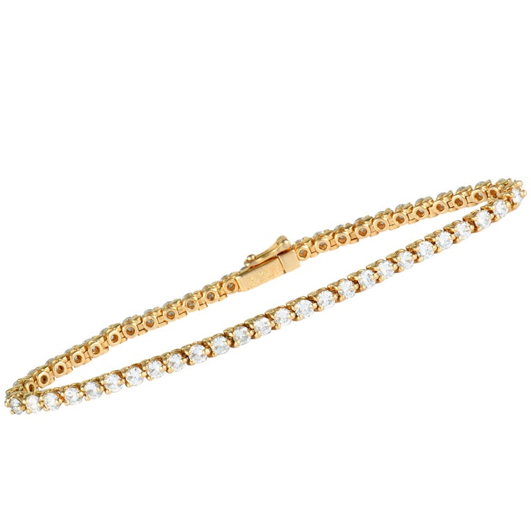 Cartier Diamond Yellow Gold Tennis Bracelet