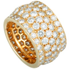Cartier Nigeria Full Diamond Pave Wide Yellow Gold Band Ring