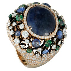 Diamonds, Sapphires, and Tsavorites Large Rose Gold Dome Ring