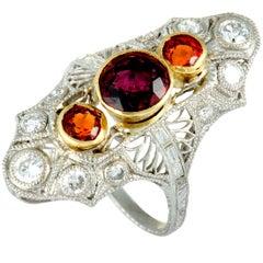 Diamond and Orange Sapphire Filigree Platinum and Yellow Gold Marquise Ring