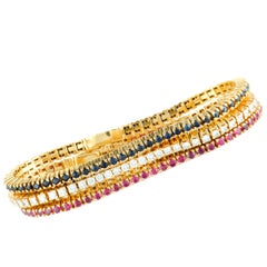 Diamond, Ruby, and Sapphire Yellow Gold Three Tennis Bracelets Set