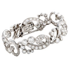 Full Diamond Swirl Link Platinum Bracelet