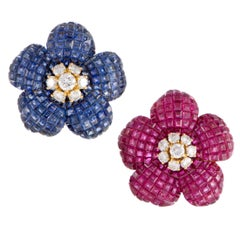 Diamond Ruby and Sapphire Yellow Gold Flower Clip-On Earrings