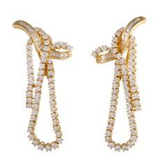 Diamond Yellow Gold Drop Omega Back Earrings