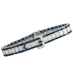 Antique Diamonds and Sapphires Platinum Buckle Bracelet