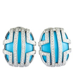 Di Modolo 18 Karat White Gold Diamond and Turquoise Oval Earrings