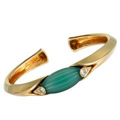 Van Cleef & Arpels Vintage Diamond and Jade Yellow Gold Bangle Bracelet