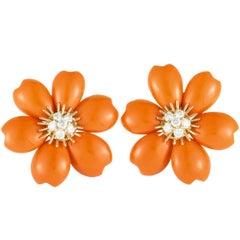 Van Cleef & Arpels Rose de Noël Diamond and Coral Yellow Gold Earrings