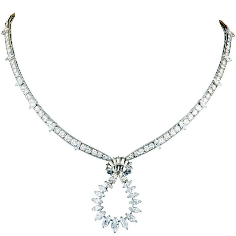 Boucheron Vintage Diamond Knot Platinum Pendant Necklace For Sale