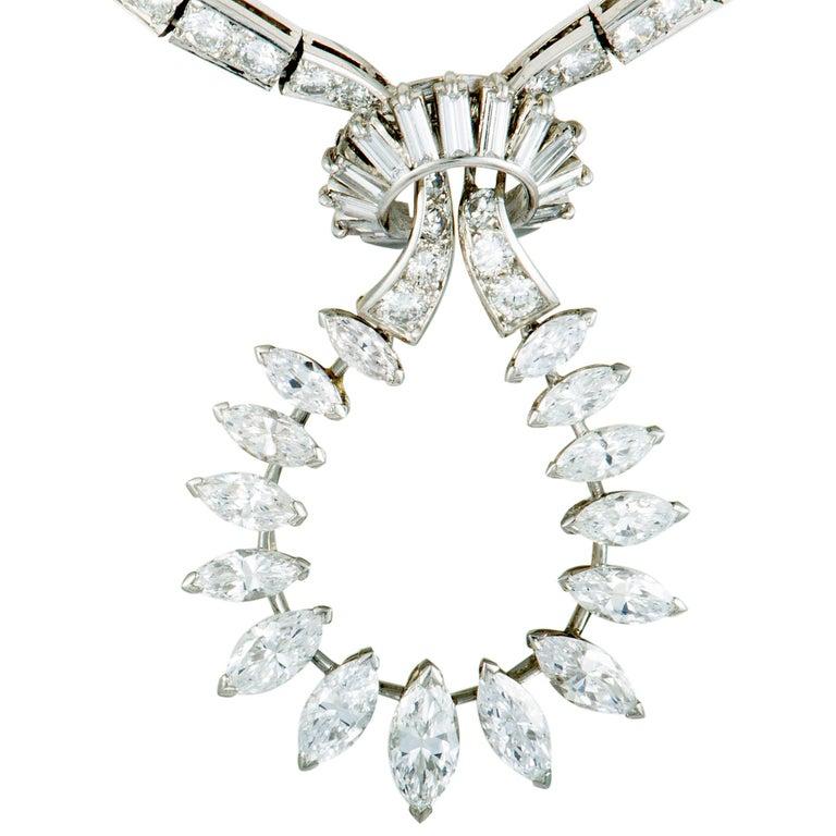 Boucheron Vintage Diamond Knot Platinum Pendant Necklace In Excellent Condition For Sale In Southhampton, PA