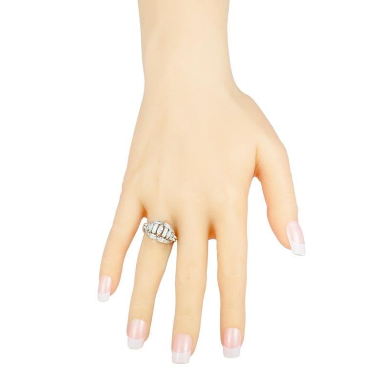 Women's Boucheron Vintage Diamond Platinum Oval Ring For Sale