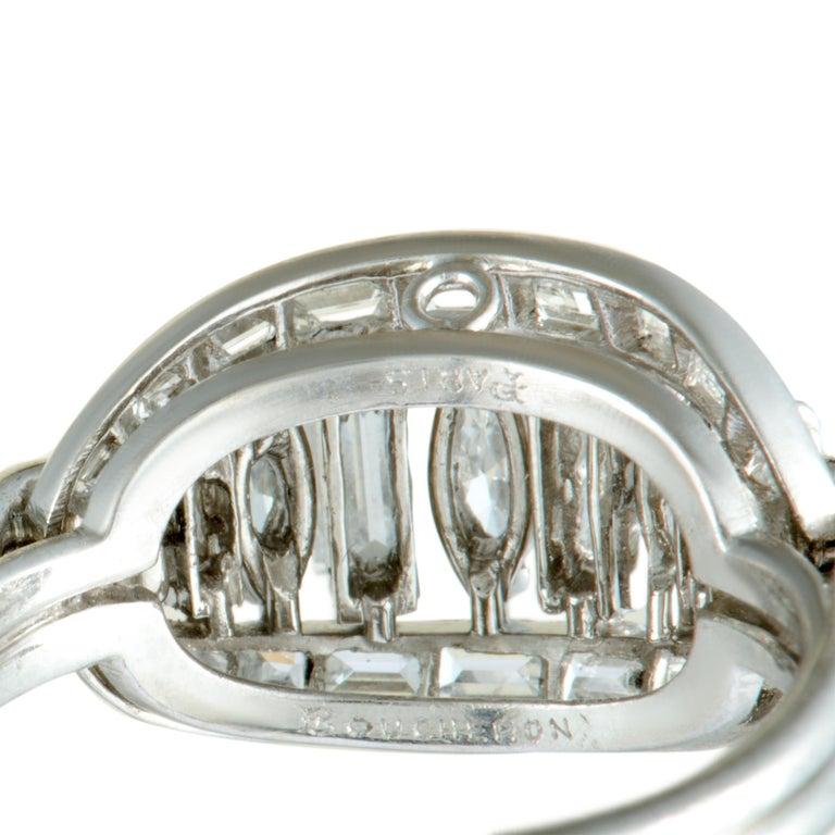 Boucheron Vintage Diamond Platinum Oval Ring For Sale 1
