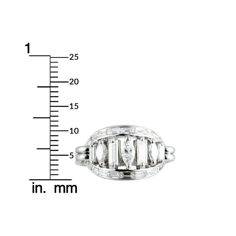 Boucheron Vintage Diamond Platinum Oval Ring For Sale 2