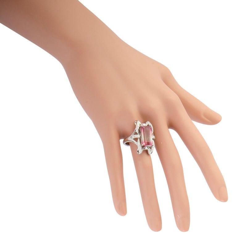 Women's Diamond and Watermelon Tourmaline Platinum Rectangle Ring For Sale