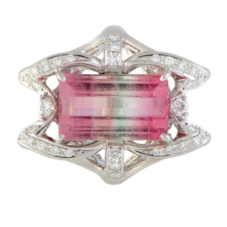 Diamond and Watermelon Tourmaline Platinum Rectangle Ring For Sale 1