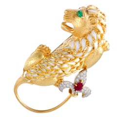 David Webb 18K Yellow Gold & Platinum Diamond Ruby & Emerald Enamel Lion Brooch
