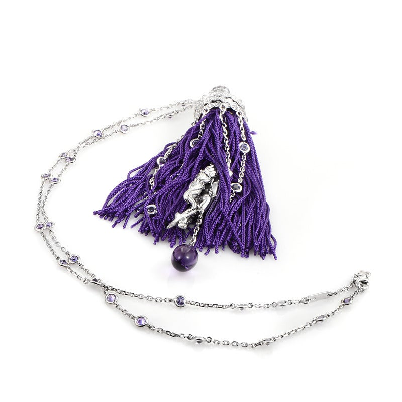 Boucheron White Gold Gemstone Purple Fringe Secret Pendant Necklace 3