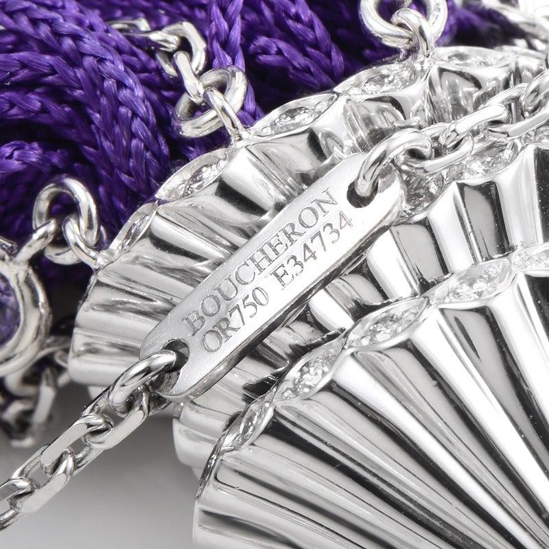 Women's Boucheron White Gold Gemstone Purple Fringe Secret Pendant Necklace For Sale