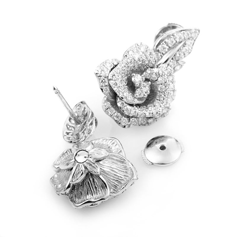 Dior Bagatelle Diamond Pave Gold Rose Earrings at 1stdibs