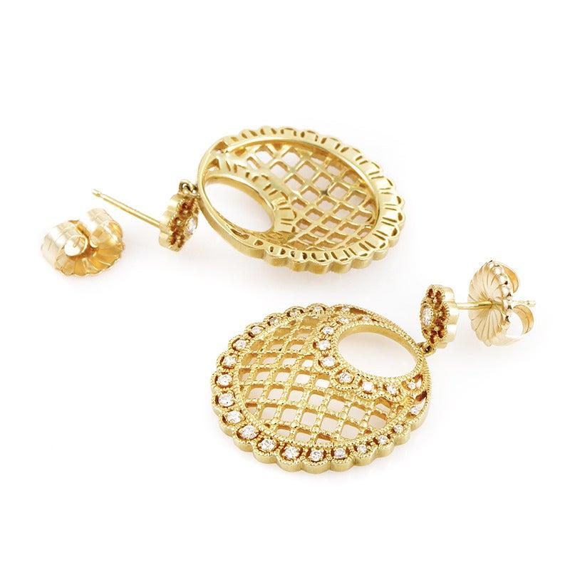 Leslie greene diamond gold basket cutout earrings at 1stdibs for Leslie greene jewelry designer