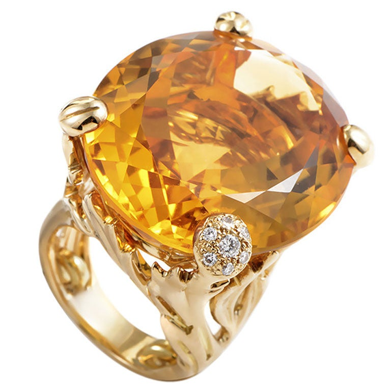 Dior Miss Dior Citrine Diamond Gold Ring For Sale