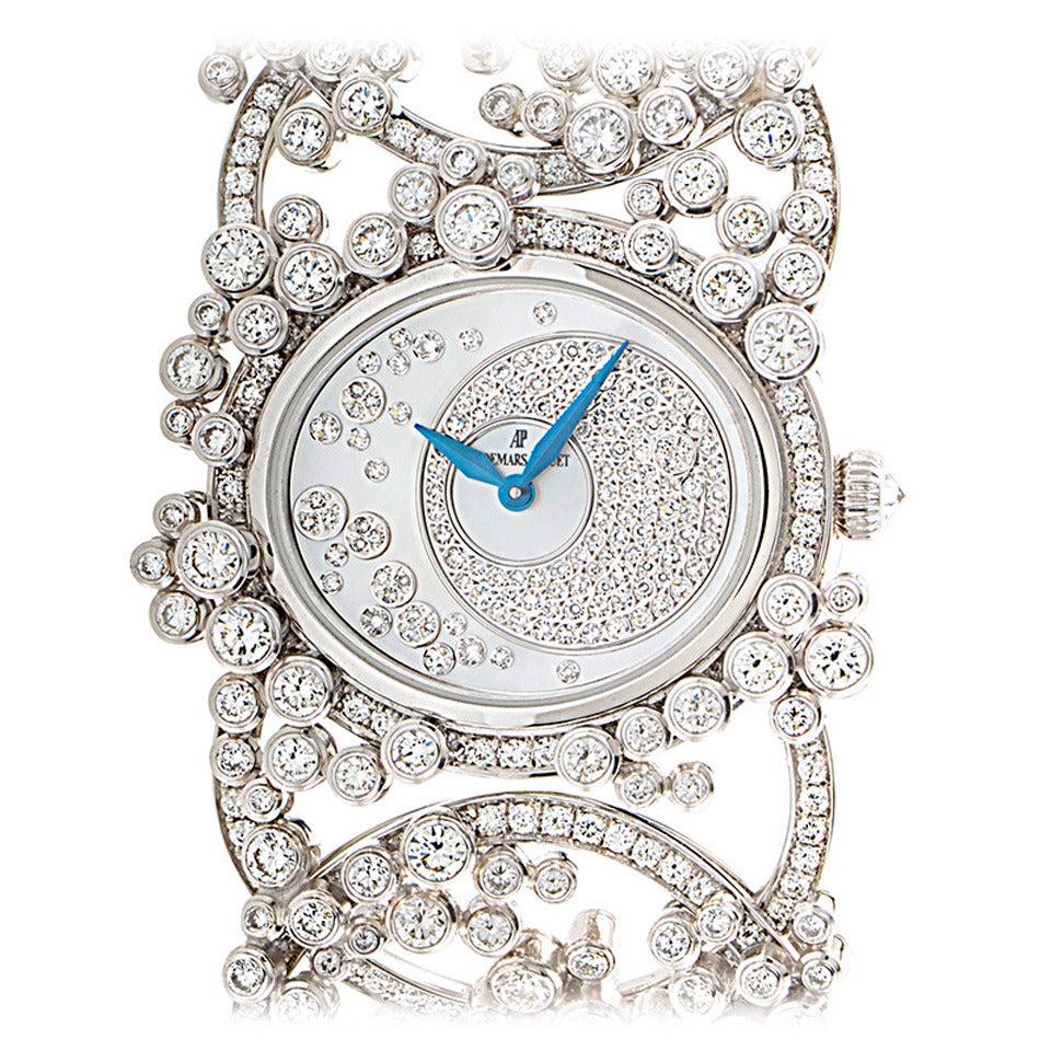 Audemars Piguet Ladies White Gold Diamond Millenary Manual Bangle Wristwatch