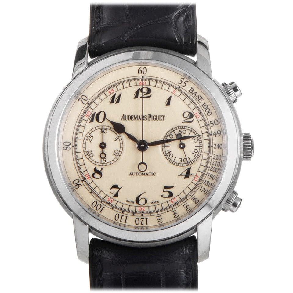 83b51e0bc168 Audemars Piguet Jules Audemars White Gold Chronograph Automatic Wristwatch  For Sale