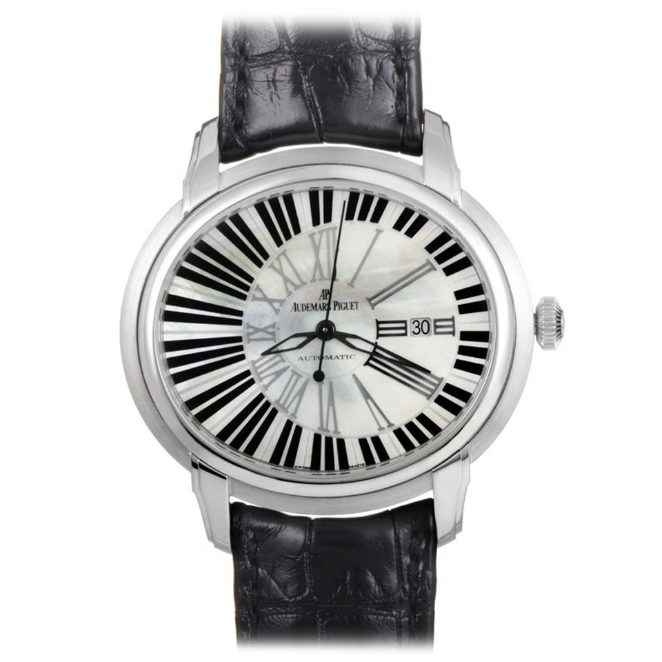 Audemars Piguet White Gold Millenary Pianoforte Automatic Wristwatch For Sale