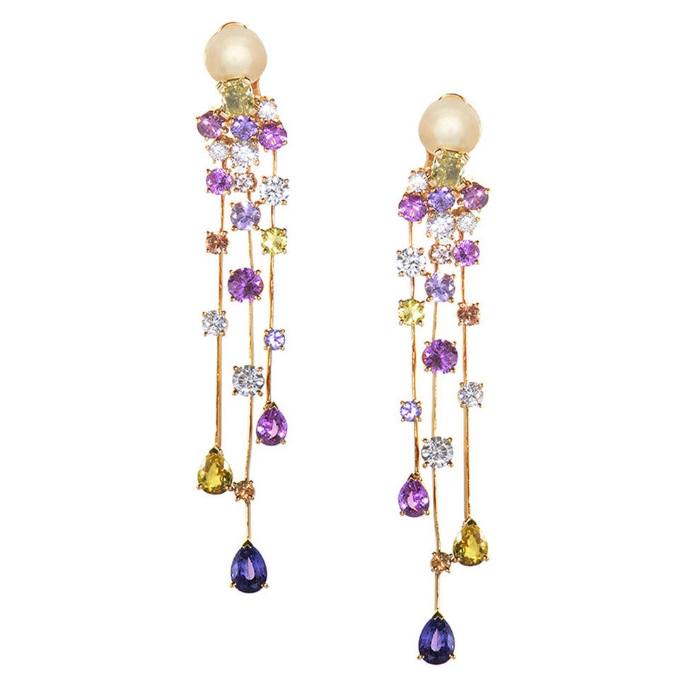 Chanel La Pluie Rose Gold Cascading Diamond and Sapphire Earrings For Sale