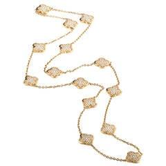 Van Cleef & Arpels Yellow Gold Diamond Pave 14 Motif Alhambra Necklace