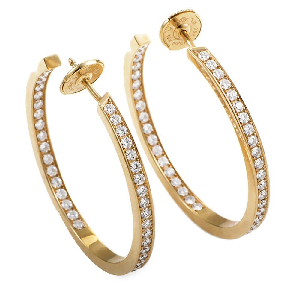 Cartier Classic Diamond Gold Hoop Earrings 1