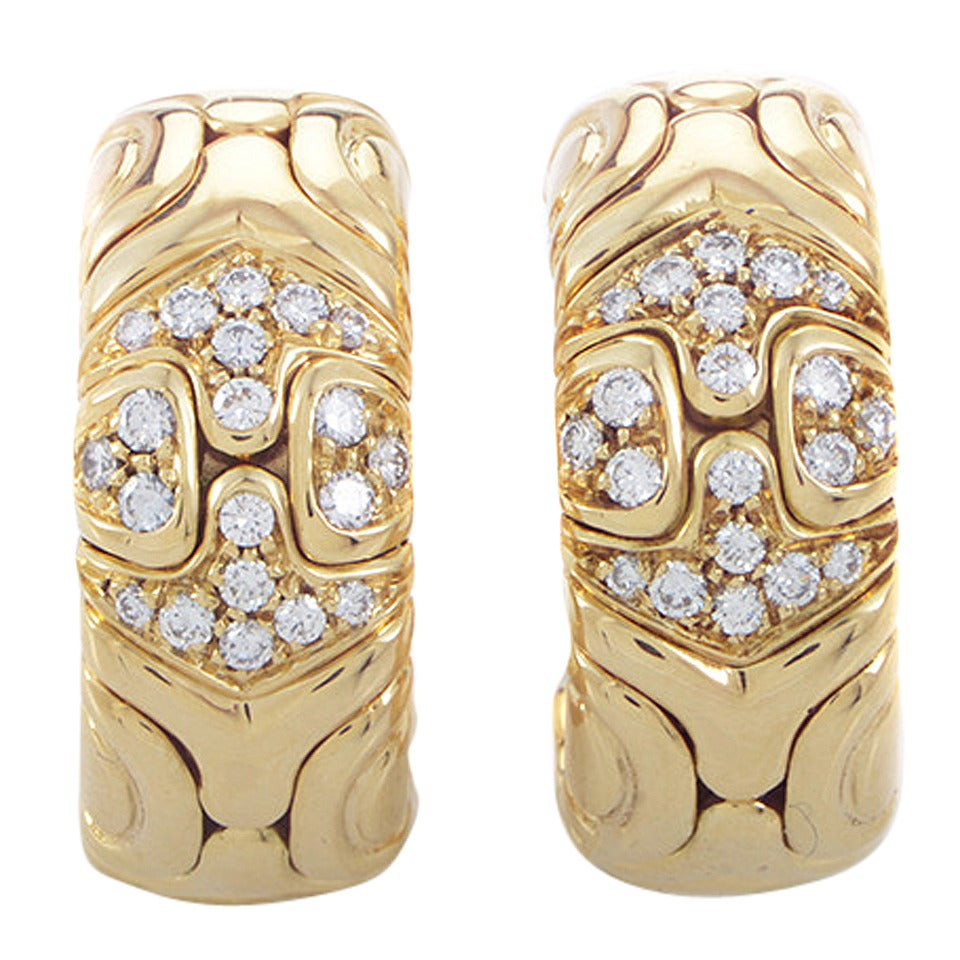 Bulgari Alveare Diamond Yellow Gold Clip-On Earrings