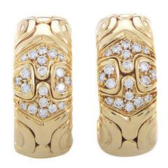 Bulgari Alveare Diamond Yellow Gold Clip-On Earrings