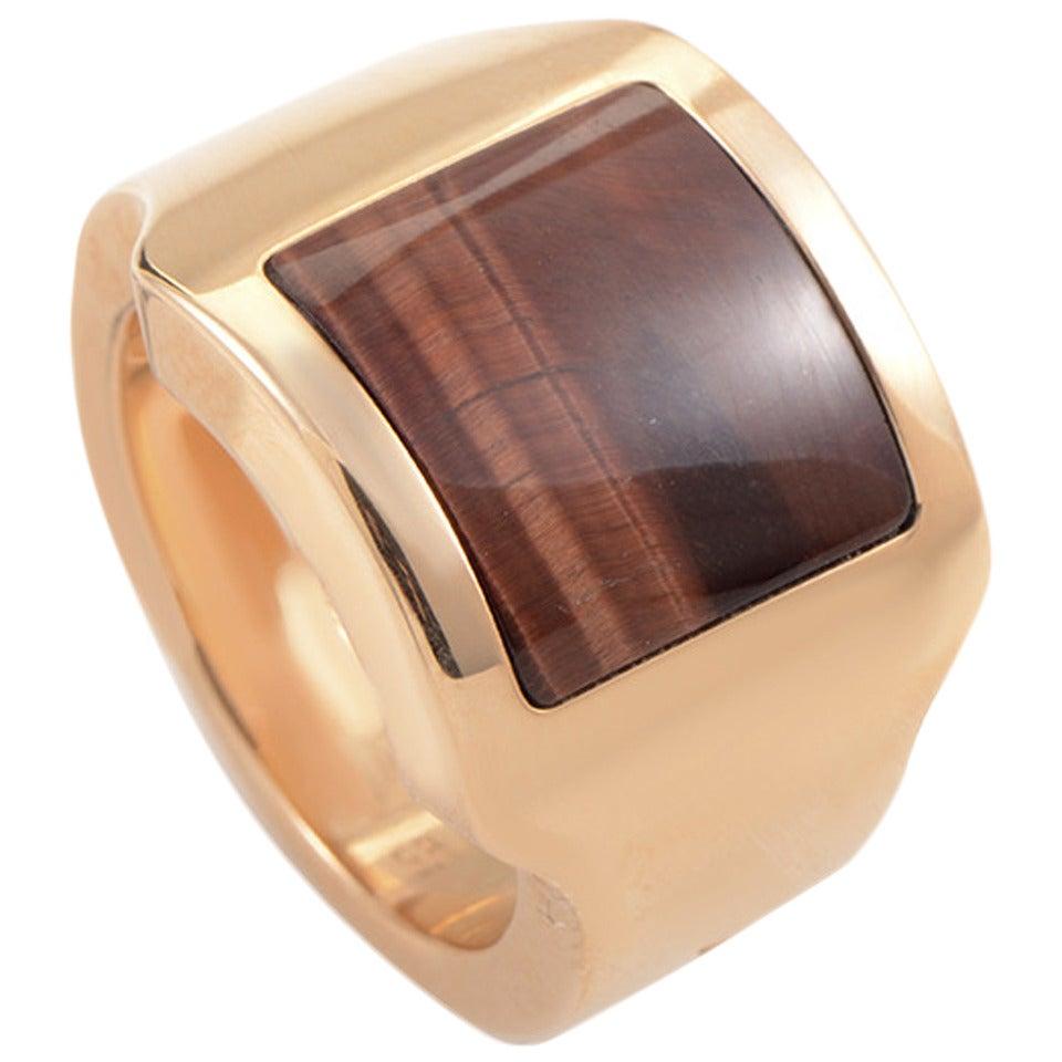 6b328418c99a4 Cartier Santos Tiger's Eye Gold Ring