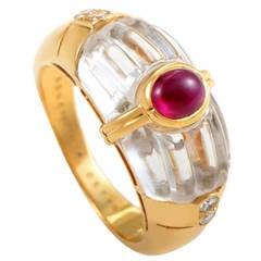 Boucheron Ruby Quartz Gold Band Ring