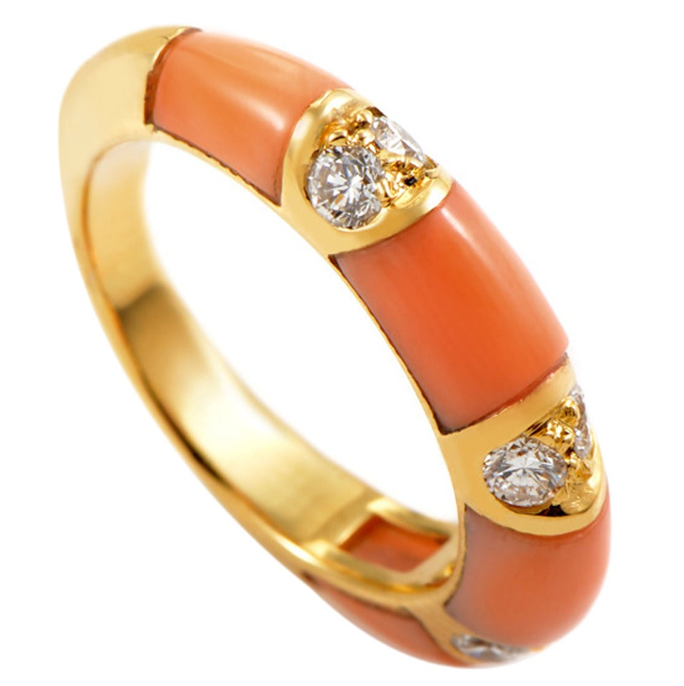 Boucheron Coral Diamond Gold Band Ring At 1stdibs