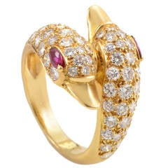 Piaget Ruby Diamond Gold Swans Ring