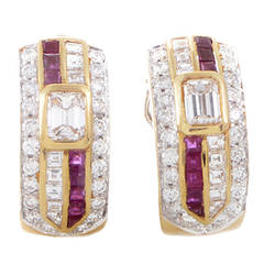 Repossi Ruby Diamond Gold Clip-On Earrings