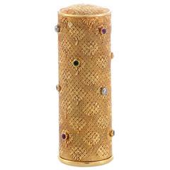 1940s Boucheron Precious Gems Gold Lipstick Case
