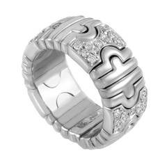 Bulgari Parentesi Diamond White Gold Band Ring