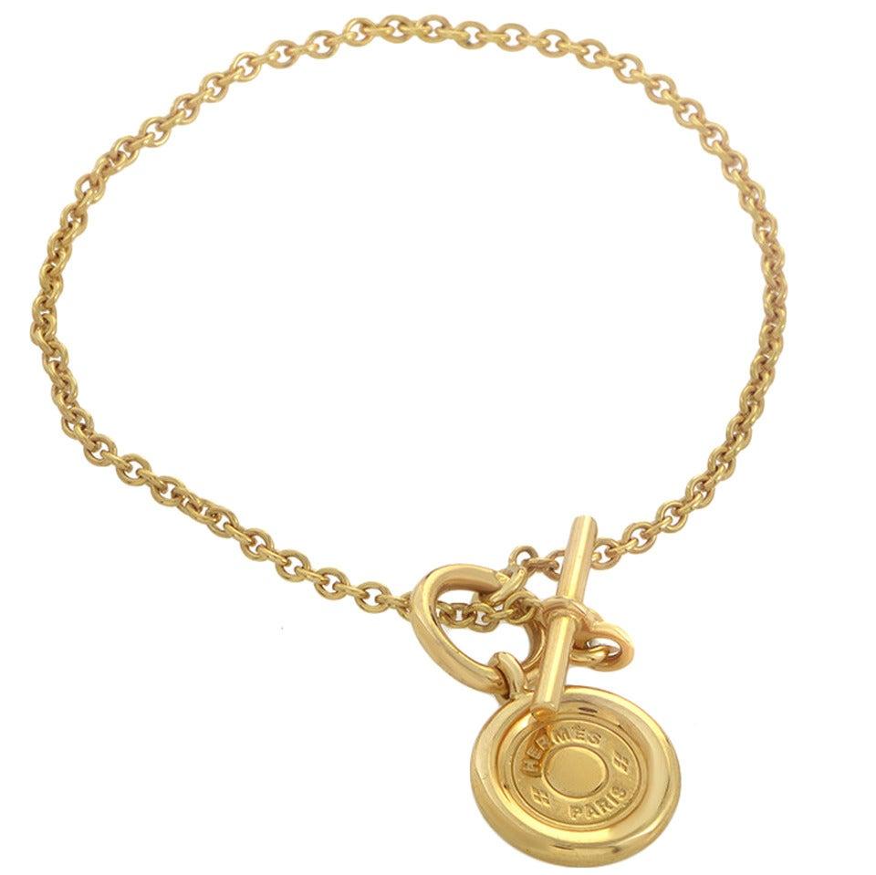 hermes gold toggle bracelet at 1stdibs