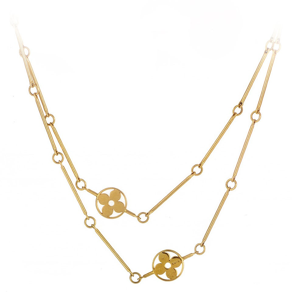 louis vuitton gold link necklace at 1stdibs