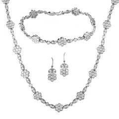 Tiffany & Co. Diamond Platinum Floral Design Jewelry Set