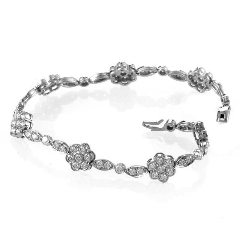 Tiffany & Co. Diamond Platinum Floral Design Jewelry Set 5