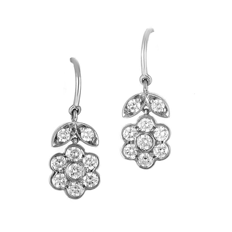 Tiffany & Co. Diamond Platinum Floral Design Jewelry Set 7