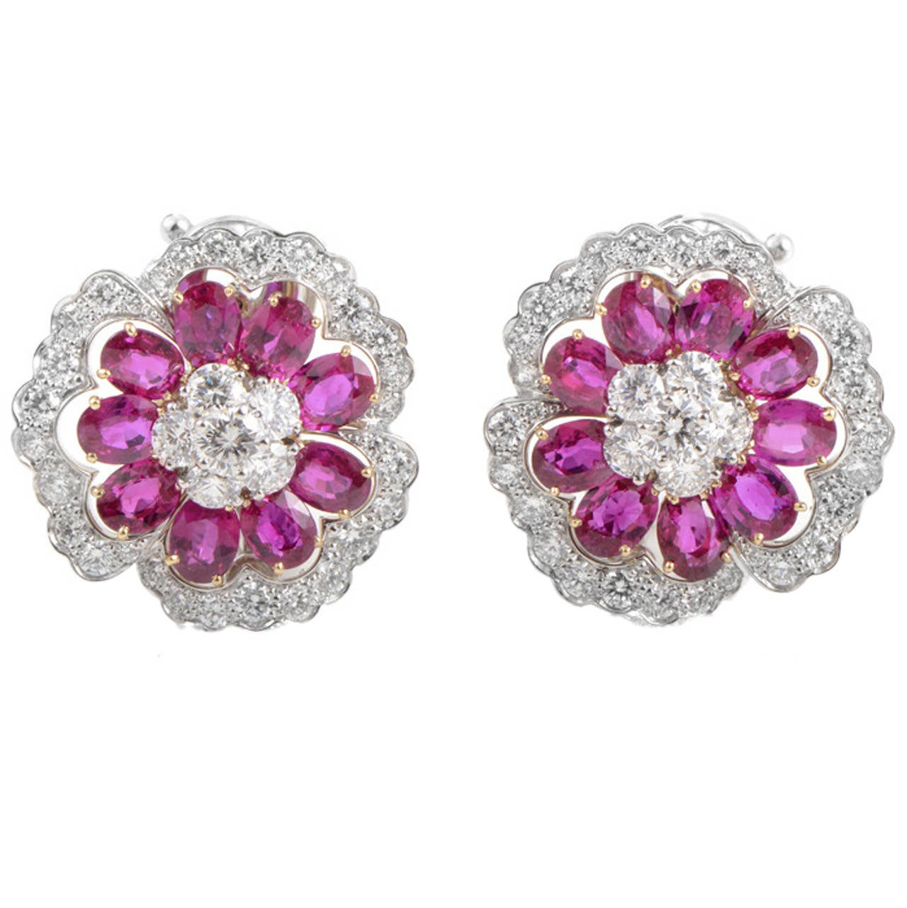 Van Cleef Arpels Ruby Diamond Platinum Camellia Earrings For