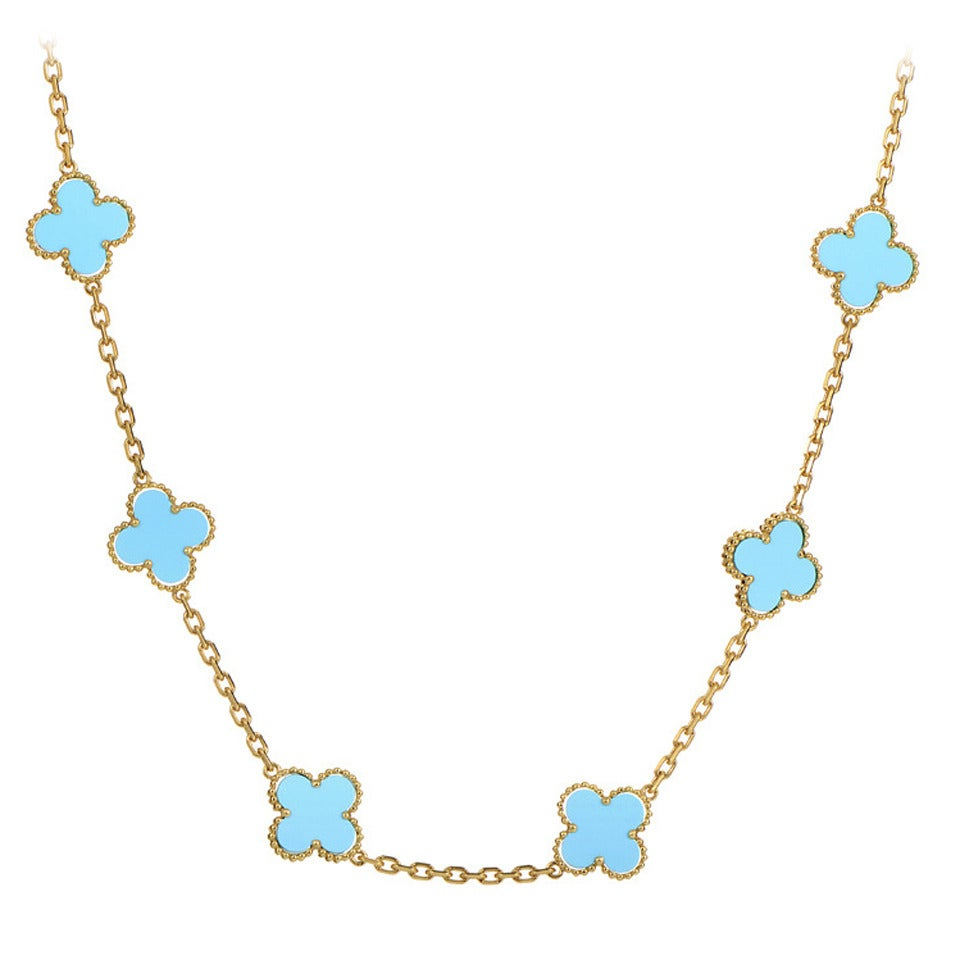 cleef and arpels 20 motif turquoise gold alhambra