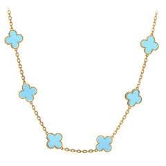 Van Cleef & Arpels 20 Motif Turquoise Gold Alhambra Necklace